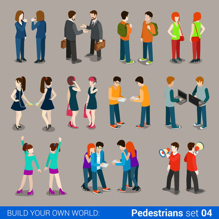 Flat 3d isometric high quality city pedestrians icon set. Business people, casual, teens, couples. Build your own world web infographic collection. Иллюстрация