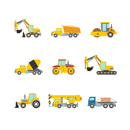 grader: Flat creative style modern construction site wheeled tracked vehicles transport web app icon set concept. Bulldozer motor grader excavator digger dredge power shovel. Build your own world collection.