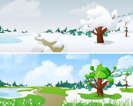 changing seasons: Tree on Landscape in Seasons: winter, spring Floral background changing seasons set 02. Illustration