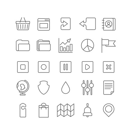 folder icons: Line art style flat graphical set of web site mobile interface app icons. Shopping cart window upload download address book folder chart graphic pie flag shield globe setting. Lineart world collection