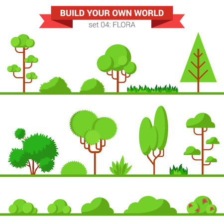 own: Flat style flora plant tree bush grass nature objects icon set. Build your own world collection.