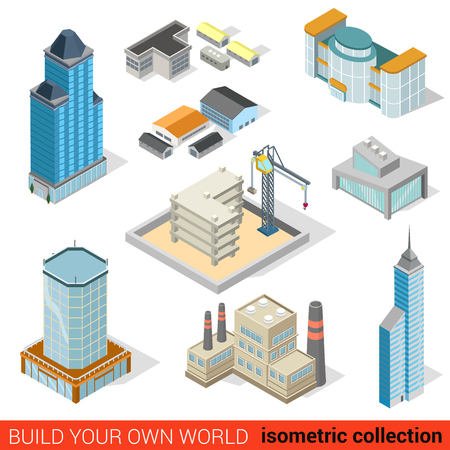 tall chimney: Flat 3d isometric city skyscraper building block construction place infographic set. Mall power plant storage warehouse public municipal house. Build your own infographics world collection.