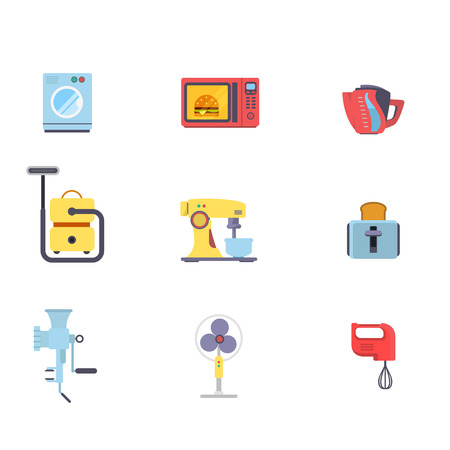 meat  grinder: Flat creative style kitchenware object home electronics modern infographic vector icon set. Washing machine microwave oven pot vacuum cleaner mixer toaster meat grinder vent. Kitchen icons collection.
