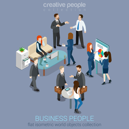 person: Flat 3d web isometric office room interior businessmen collaboration teamwork brainstorming waiting meeting negotiation infographic concept vector set. Creative people collection