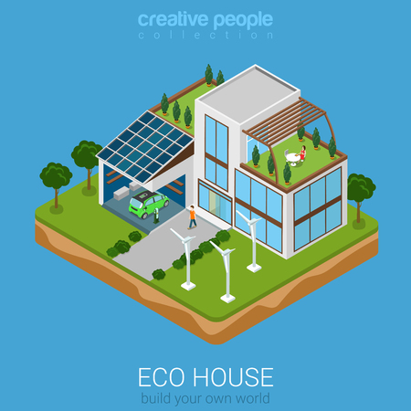 electric turbine: Flat 3d isometric green eco friendly house concept. Electric car sun battery wind turbine and house on rectangular platform. Build your own world collection. Illustration