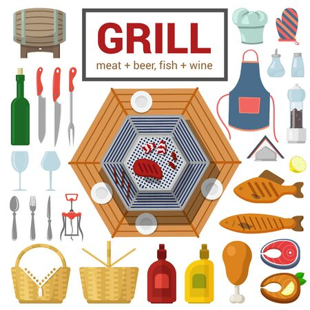 bbq barrel: Flat style high detail quality icon set of grill meat fish barbecue BBQ steak object. Wine cutlery glass salt pepper ketchup mustard chicken leg corkscrew. Food beverage cooking outdoor collection