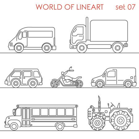 El transporte por carretera moto lineas de autobús escolar tractor gráfica conjunto inconformista aérea. colección de arte de línea. Ilustración de vector