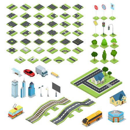 플랫 3D 아이소 메트릭 거리 도로 표지판 빌딩 블록 인포 그래픽 개념을 설정합니다. 사거리 철도 분수 신호등 랜턴 마천루 트램 버스 가게. 자신의 인