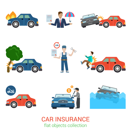accident: Flat style modern car insurance icon pack set. Accident damage loss injury harm defect evacuator tow truck robbery policy salvage certificate worker manager. Transport service flat collection