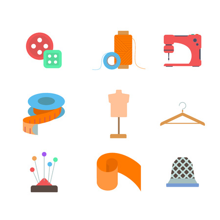 modiste: Flat style modern tailor sewing dressmaker needlewoman tools accessory fashion clothing industry web app concept icon set. Button thimble sewer mannequin pincushion thread. Website icons collection.