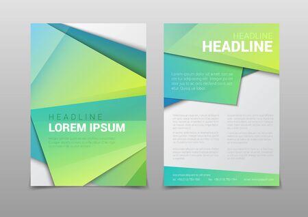 スタイリッシュなモダンな緑色多角形の魅力的なカバー見出し会社ビジネス ドキュメント レポート パンフレット モックアップ テンプレート。Web   イラスト・ベクター素材
