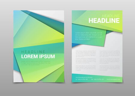 Stylish modern green color polygonal attractive cover headline corporate company business document report brochure mockup template. Web site elements backgrounds collection.