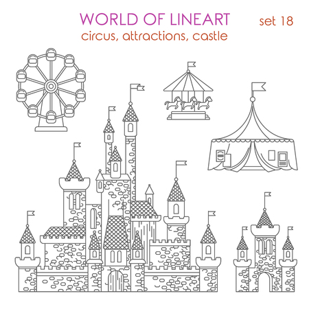 entertainment: Architecture entertainment building circus attractions castle playhouse Ferris wheel graphical lineart hipster set. World of line art collection. Illustration