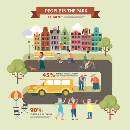 city alley: Flat style thematic people in park infographics concept. Park alley road in city and bicycle parenting dog walking sports fresh air activity oldies lounge. Conceptual web site infographic collection. Illustration