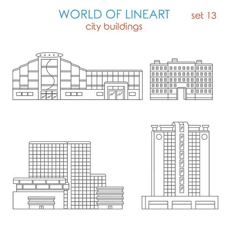 municipal: Architecture city public municipal mall business center estate building graphical lineart hipster style set. World of line art collection.