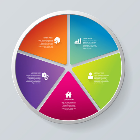 segment: Simple multicolor 5 segment circle segment step process steps labels infographics mockup template. Infographic background concepts collection. Illustration