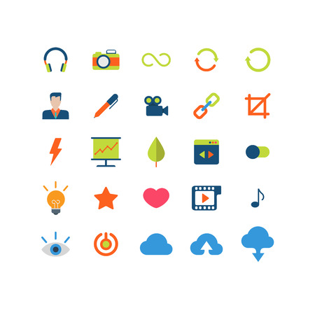 statistics icon: Flat style modern mobile web app interface icon pack set. Music photo camera loading reload sign user profile video link chain crop statistics wizard favorites like cloud upload download application.
