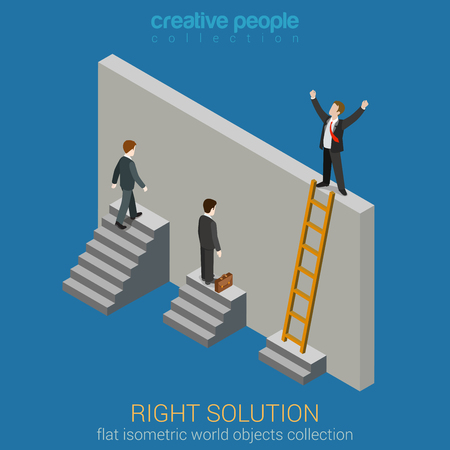 solve problem: Right Solution to solve problem business concept flat 3d web isometric infographics vector. Creative people collection.