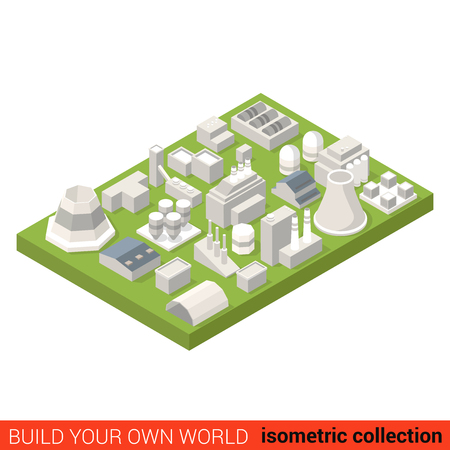 building block: Flat 3d isometric power energy heat plant building block set infographic concept. Turbine heater hangar station chimney. Build your own infographics world collection.