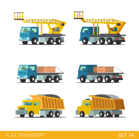 hopper: Flat isometric style modern construction site industrial building tracked vehicles transport web app icon set concept. Tip truck tipper hopper lorry platform crane. Build your own world collection. Illustration