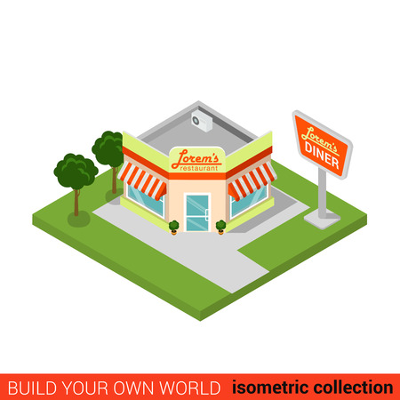 building block: Flat 3d isometric diner restaurant building block infographic concept. Street corner fast food dinner. Build your own infographics world collection.