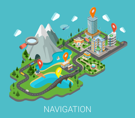 city background: Flat 3d isometric map mobile GPS navigation app infographic concept. City countryside lake mountain gas station park restaurant bridge hotel shopping mall route pin markers. Navigate info graphics.
