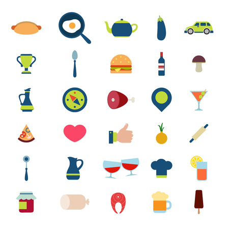 fried: Flat style modern food beverage eat drink cafe restaurant meal time mobile web app interface icon pack set. Hot dog fried egg burger wine beer cook pizza fish jam ice cream cocktail application. Illustration