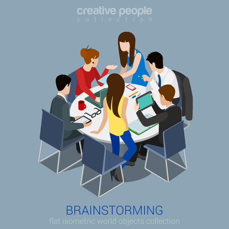 Brainstorming creative team idea discussion people flat 3d web isometric infographic concept vector. Teamwork staff around table laptop chief art director designer programmer. Illusztráció