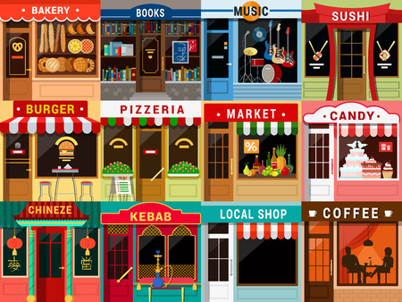 Flat style cafe restaurant bistro little tiny fancy cool shop big icon set. Bakery bookstore music sushi burger pizzeria food market candy Chinese kebab coffee.