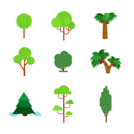 oak trees: Flat style flora plant green trees nature objects icon set. Pine fir coconut palm oak alder conifer spruce maple. Build your own world collection. Illustration