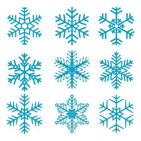 01: Snowflake isolated decoration vector icon set 01