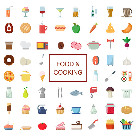 cooking time: 60 flat creative stylish food and cooking icon set. Eat drink cookware kitchenware products electronics. Ice cream wine cocktail beer sausage cheese sushi jam fish. Meal time icons collection.