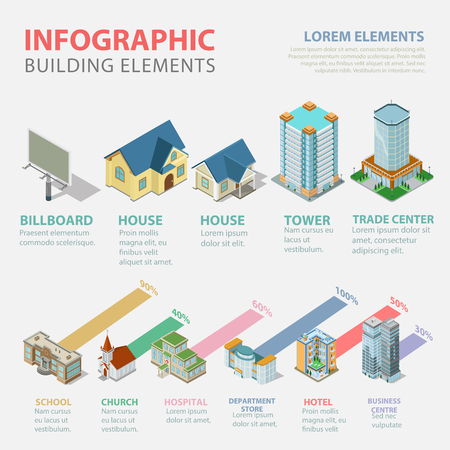 urbanization: Flat 3d isometric style thematic building estate elements infographics concept template. House office business center tower school church hospital hotel store. Conceptual web site infographic collection.