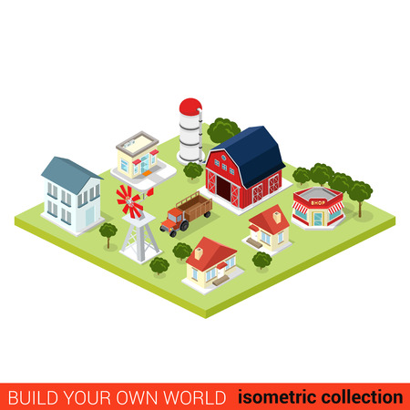 country side: Flat 3d isometric set of countryside infographic farm buildings. Country side barn warehouse storage shop tractor windmill water pump house. Build your own infographics world collection.