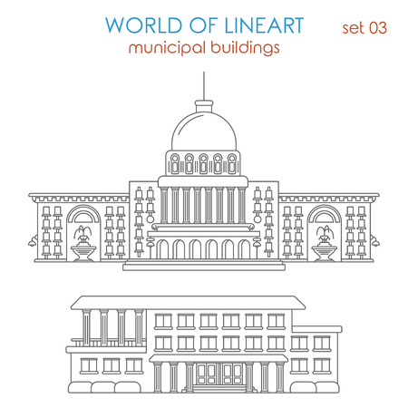 municipal: Architecture municipal government building graphical lineart hipster style set. World of line art collection.