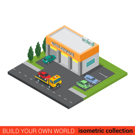 city block: Flat 3d isometric auto car repair service building block infographic concept. Small business three services boxes and rescue tow truck street road parking. Build your own infographics world collection Illustration