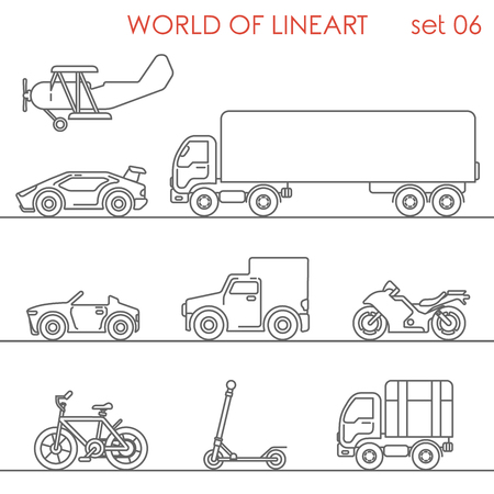 lineart: Transport aerial road moto bicycle kick scooter motor plane graphical line art style icon set. World of lineart collection. Illustration