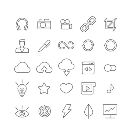graphical user interface: Line art style flat graphical set of web site mobile interface app icons. Music headphones camera video link crop user profile edit loading reload cloud upload download. Lineart world collection.