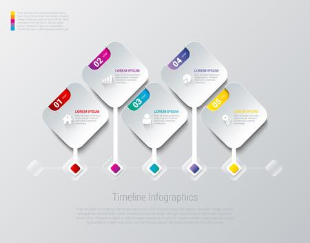 rhombus: Infographics design vector template. Square Rhombus Timeline concept options.