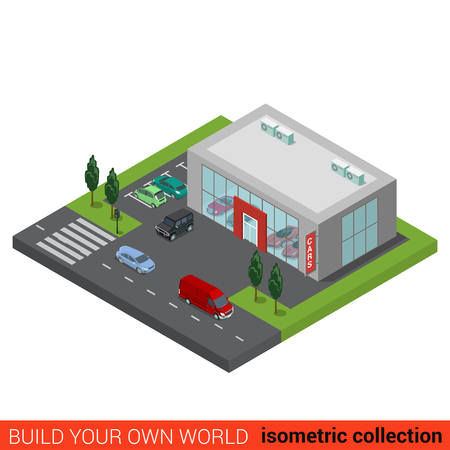 dealership: Flat 3d isometric auto car dealership sale building block infographic concept. Sales business glass trading place and street road parking. Build your own infographics world collection