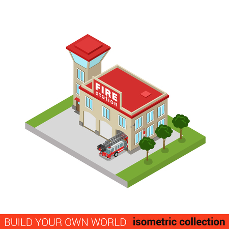 office block: Flat 3d isometric fire station building block infographic concept. Rescue service service office tower car truck. Build your own infographics world collection. Illustration