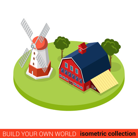warehouse building: Flat 3d isometric country side windmill threshing farm building block infographic concept. Countryside barn warehouse storage. Build your own infographics world collection.