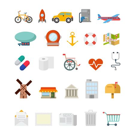 at leisure: Flat creative style modern travel vacation tourism healthcare navigation infographic vector icon set. Bicycle rocket car plane map scuba zeppelin anchor pills message. Leisure icons collection. Illustration