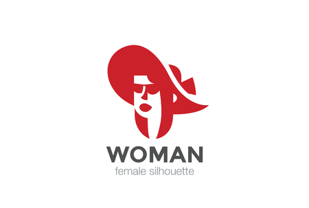 girl in a hat: Beautiful Woman in Hat silhouette   design vector template Negative space style. Female Head   concept icon Illustration