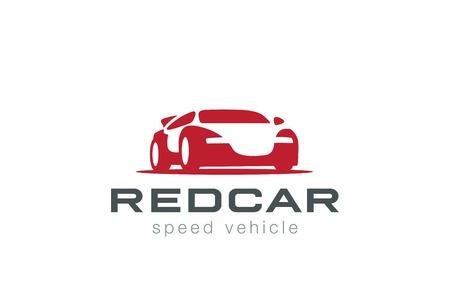 Red Sport Auto Silhouette Logo Design-Vorlage Vektor Negative Raum Stil. Rennen Kraftfahrzeug Signet Konzept Symbol.