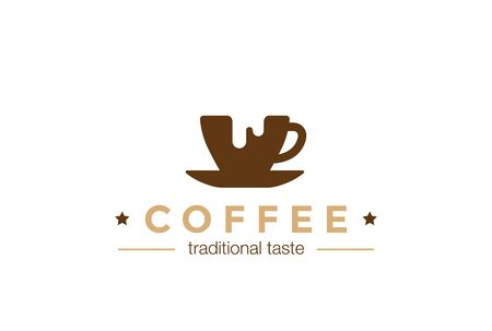 cup of coffee: Coffee cup   design vector template Negative space style. Coffee-shop cafe   concept icon. Illustration