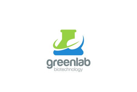 green chemistry: Organic Green Bio Lab   design vector template Negative space style. Test tube flask Chemistry laboratory  . Research Science technology concept icon. Illustration