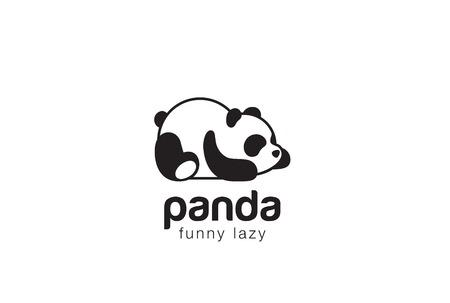 Panda bear silhouette   design vector template. Funny Lazy animal   concept icon.