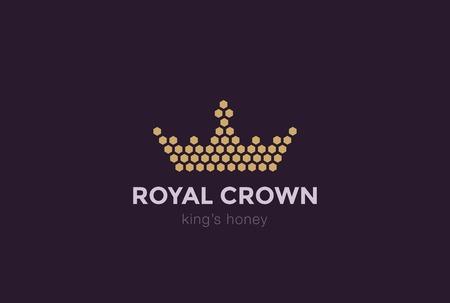 Crown of Hexagon cells design vector template. Royal King Honey concept idea icon