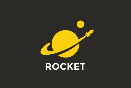 Rocket Planet Logo abstract design vector template Negative space style.